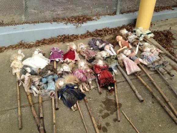 一体何の為に?沼に多数の人形が放置される。