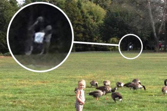 公園で遊んでる娘の写真を撮ったら、背後に白馬の騎士の霊が写り込む