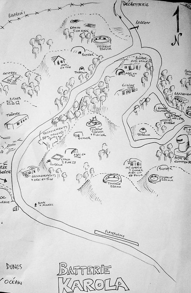 Un plan du site de la batterie karola