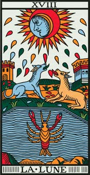 The Moon Tarot card and dreams about arrows