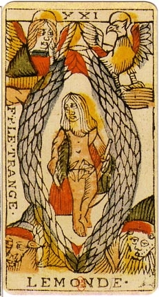 The World Tarot card and the living symbol of Adler