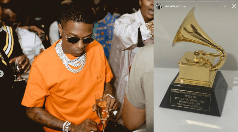 Wizkid receives Grammy trophy