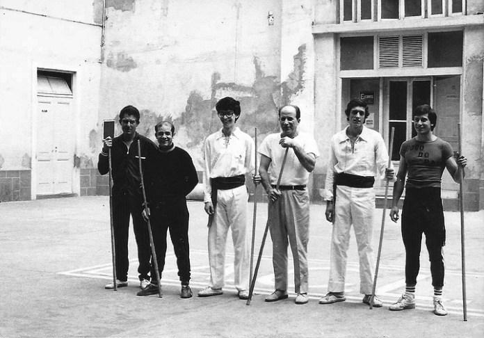 Jogo do pau no Ateneu Comercial de Lisboa em 1974, Elias Gameiro, Abel Couto, Pedro Lucas(?), (?), José Santos(?), Nuno Russo.