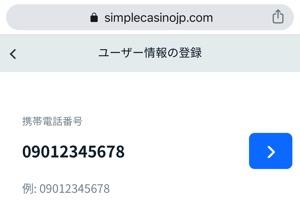 シンプルカジノ 電話番号入力