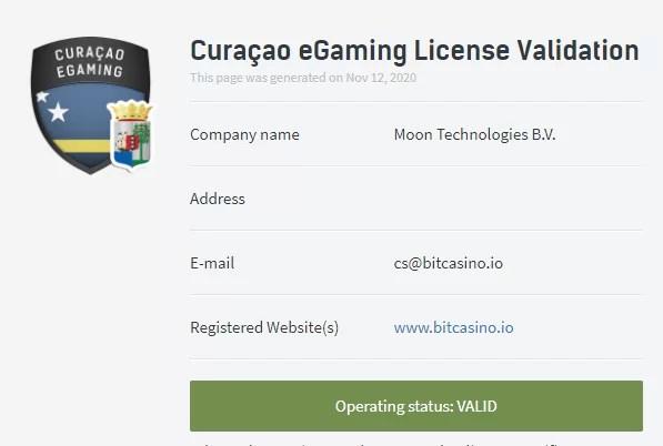 ビットカジノ(Bit Casino)のライセンス