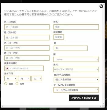 インターカジノ登録手順5