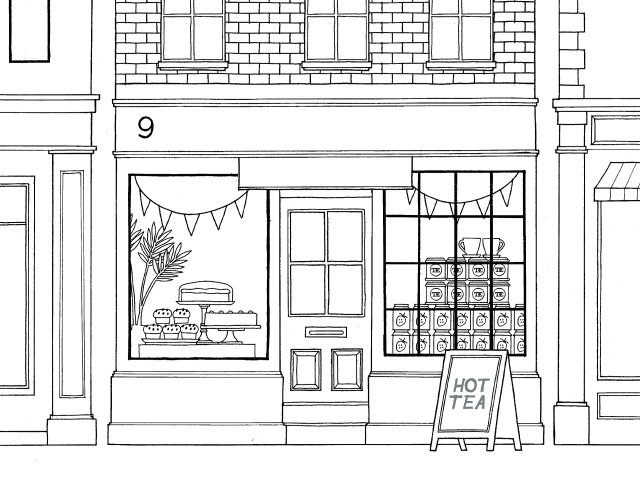 Cafe in London - Coloring pages for you