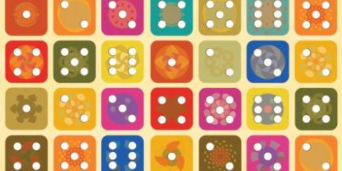 Colorful dice faces
