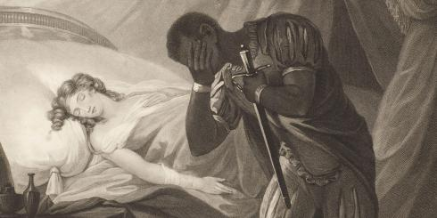 A man holding a sword covers his face with his hand in sorrow. Behind him, a woman lies in bed with her eyes closed.