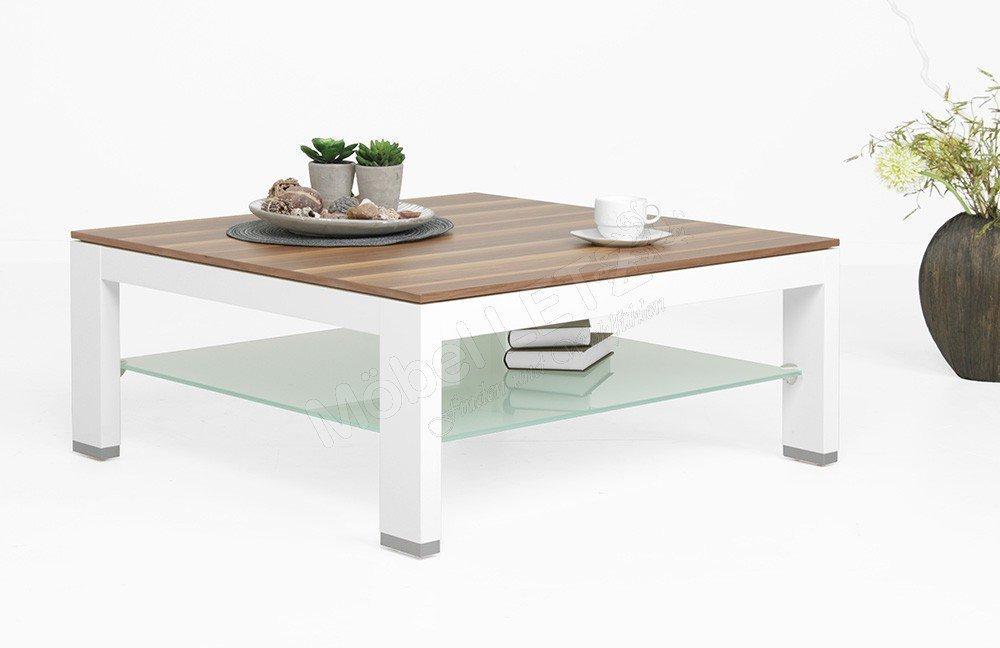 Gwinner Wohndesign Couchtisch CTH90B Weiß/ Nussbaum