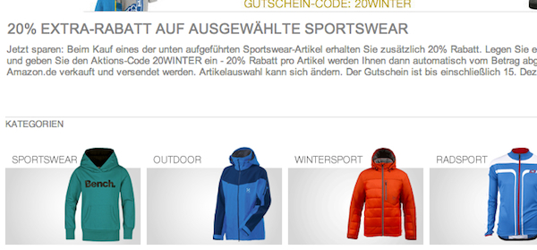 amazon 20 prozent sportswear