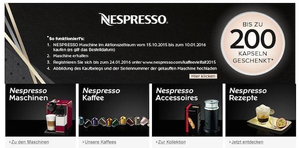 amazon nespresso 200 kapseln gratis