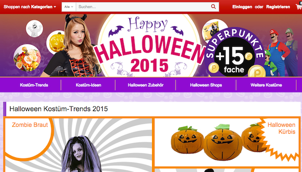 rakuten halloween aktion 15fach superpunkte