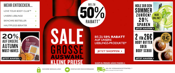 the body shop mid season sale 50 prozent rabatt
