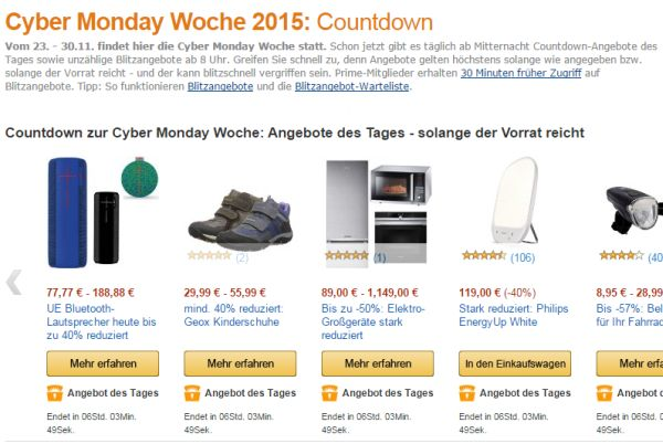 amazon cyber monday 2015 countdown rabatt