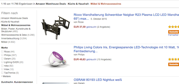 amazon warehouse deals 50 prozent rabatt möbel wohnen