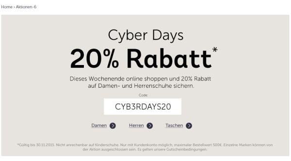 mirapodo cyber days 20 prozent rabatt