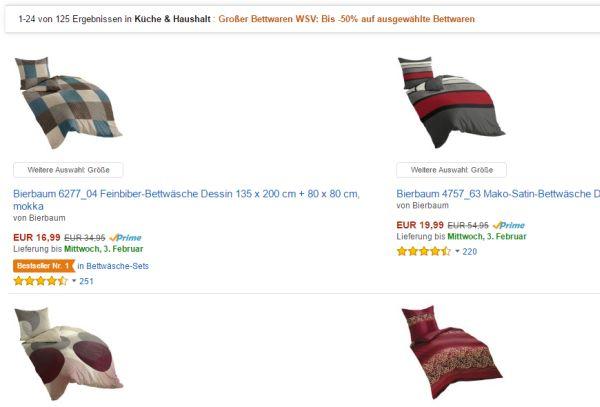 Amazon Bis Zu 50 Prozent Rabatt Im Bettwaren Wsv