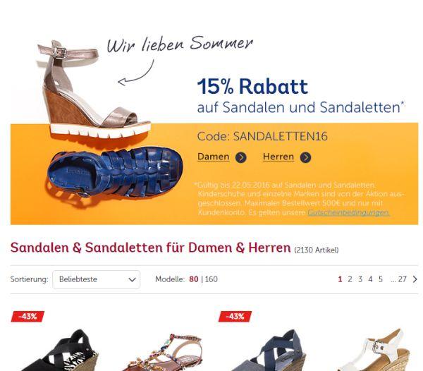 mirapodo 15 prozent rabatt sandalen sandaletten