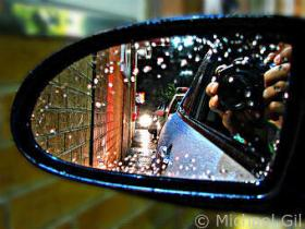 Heavy rain in the side mirror