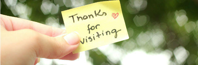 Sticky note with Thanks For Visiting
