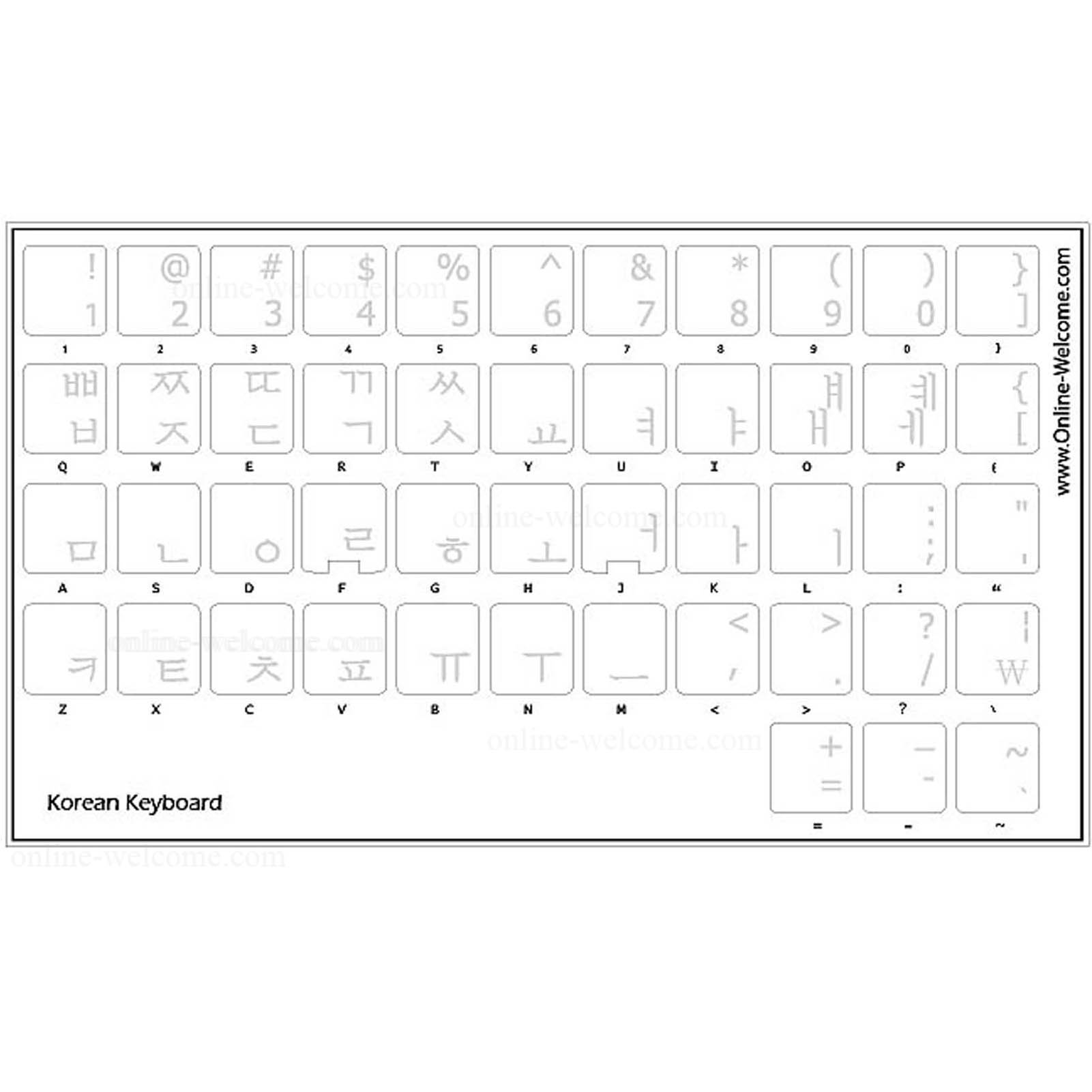 Korean Keyboard Sticker Transparent White Letters