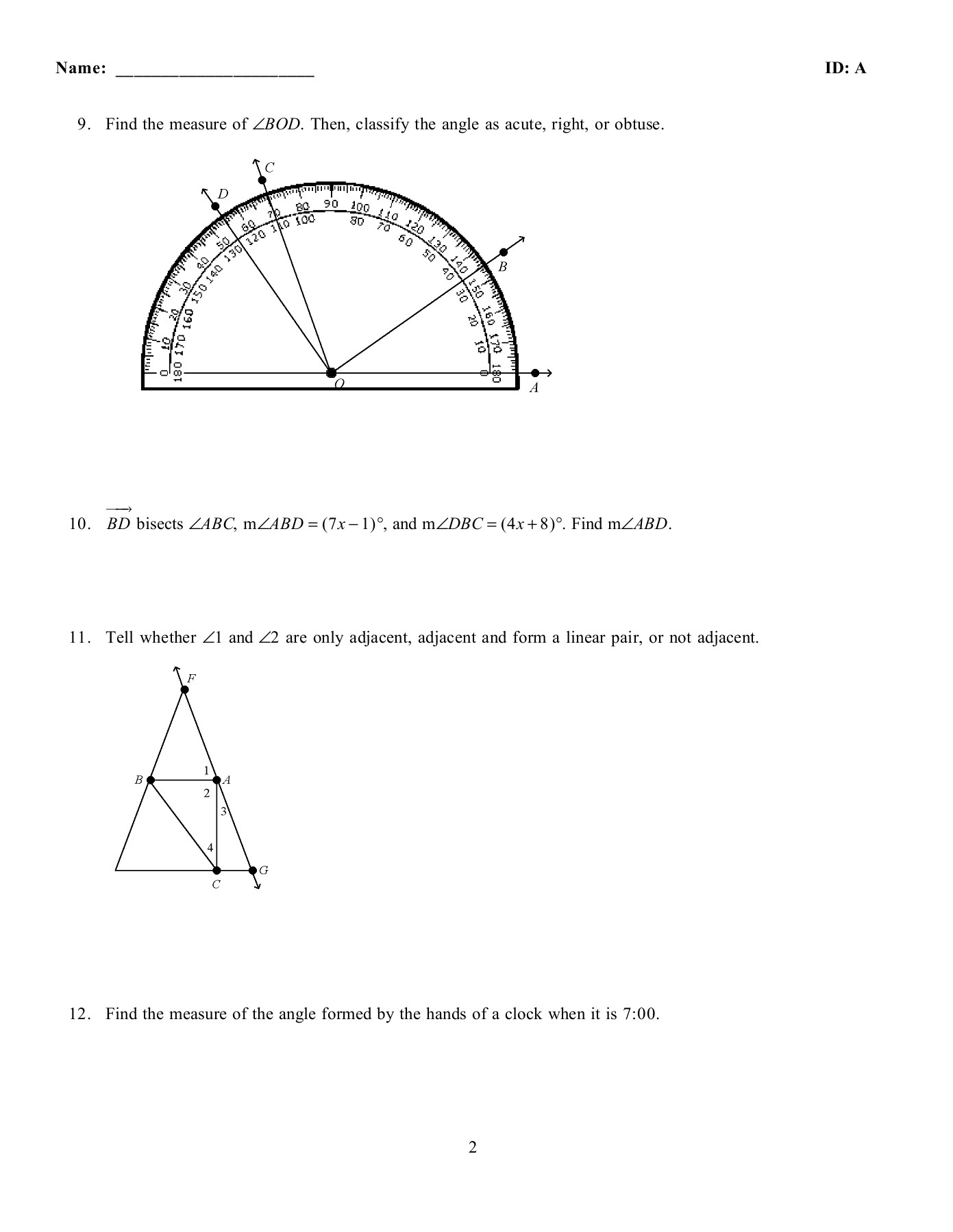 In Which Diagram Do Angles 1 And 2 Form A Linear Pair