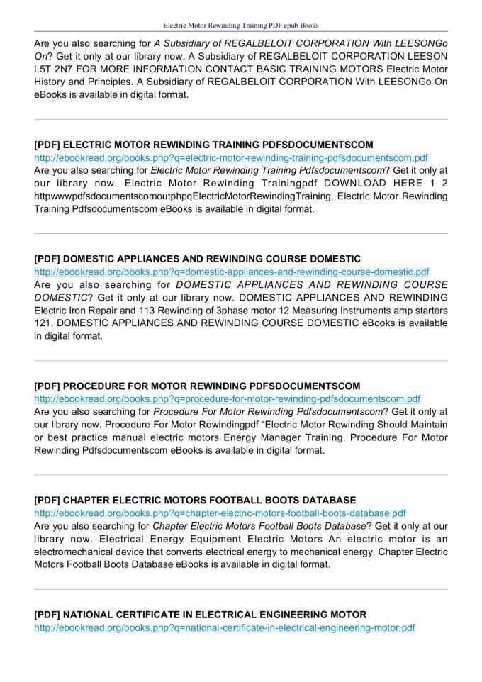 Electric Motor Repair Book Pdf | Motorsite.co