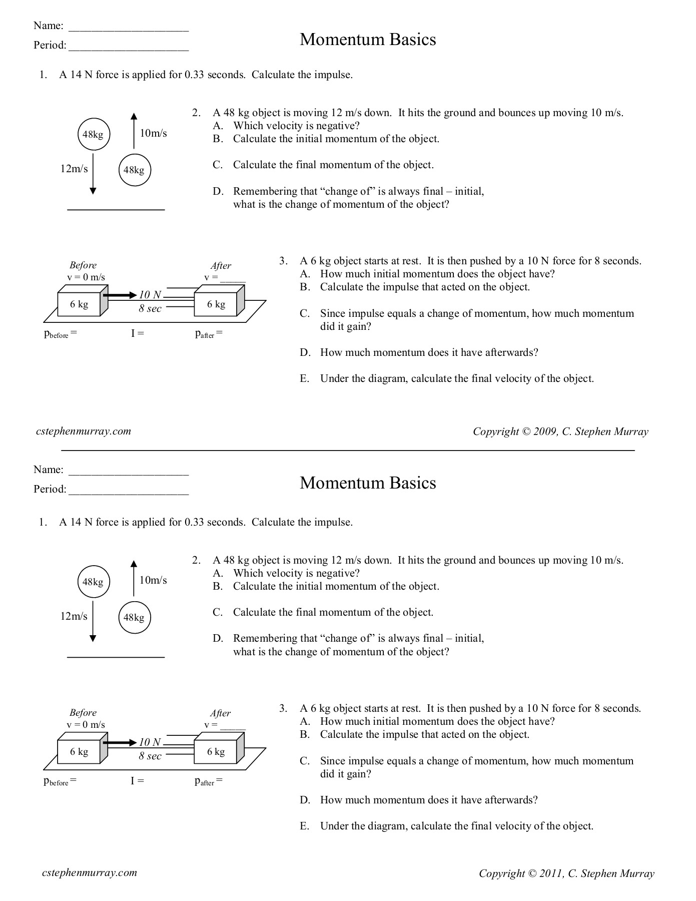 Momentum And Impulse Practice Problems Worksheet
