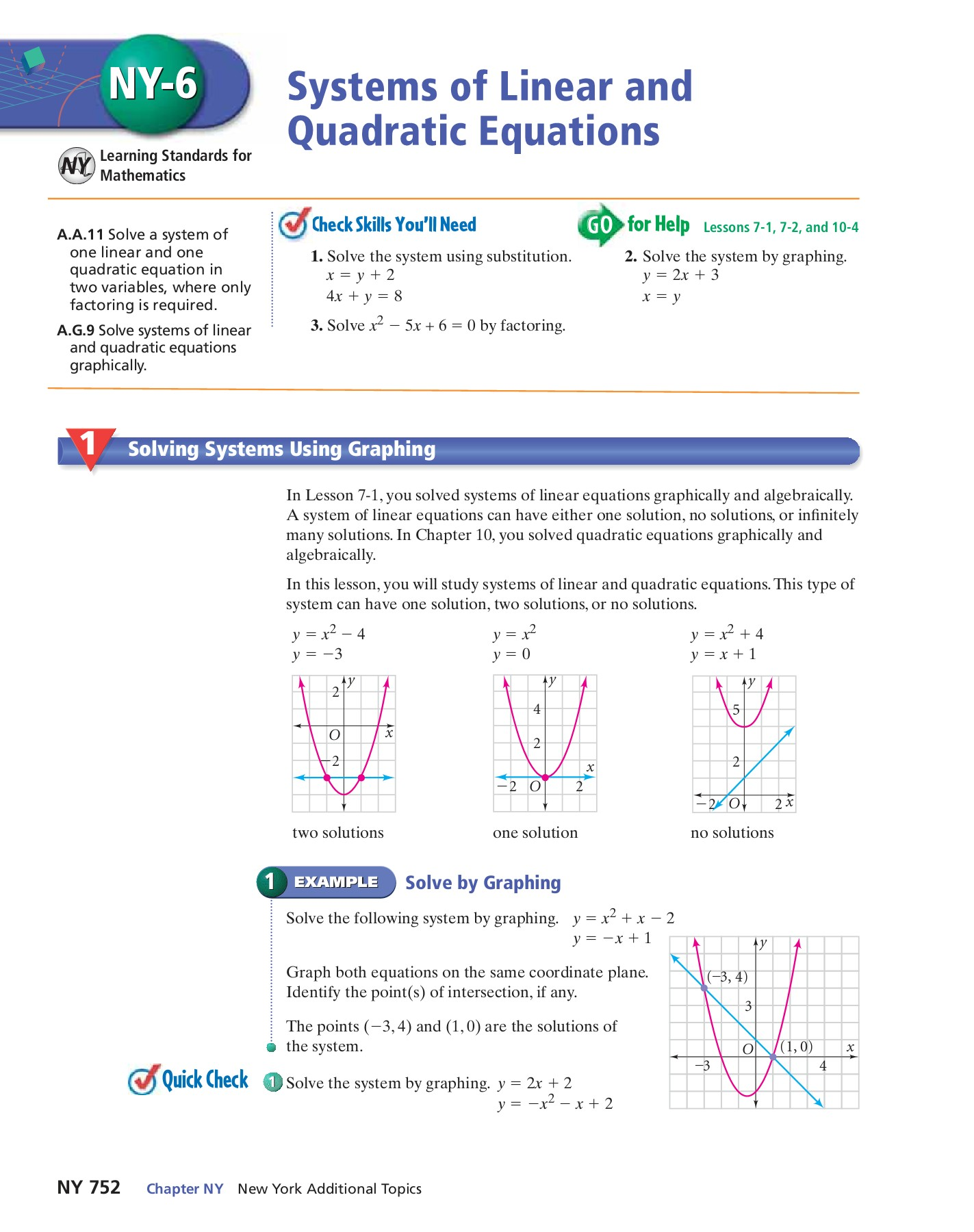 Solving Systems Of Quadratic Equations By Substitution