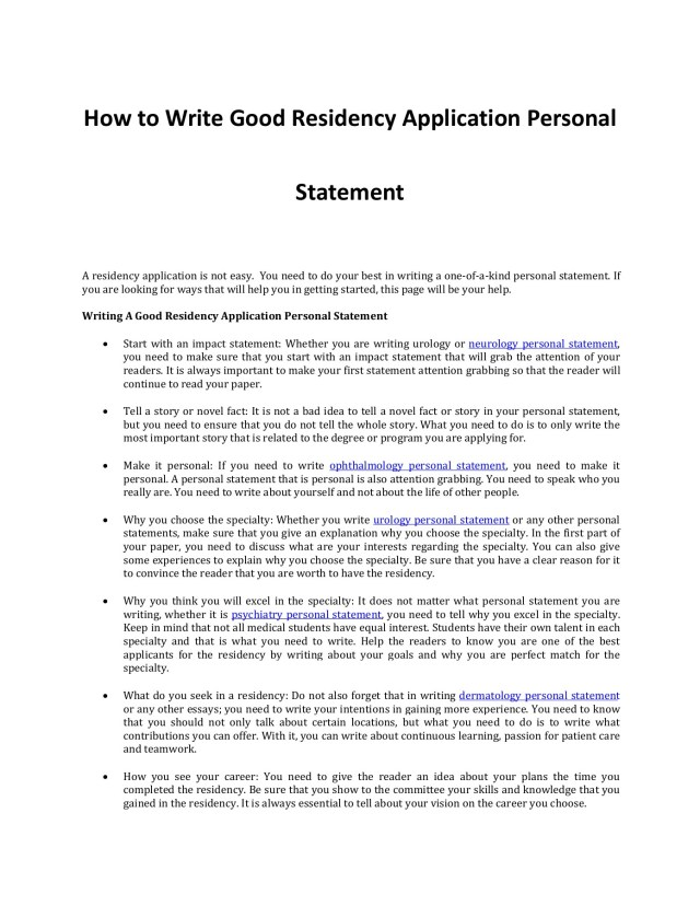Writing a Good Residency Application Personal Statement-Flip eBook