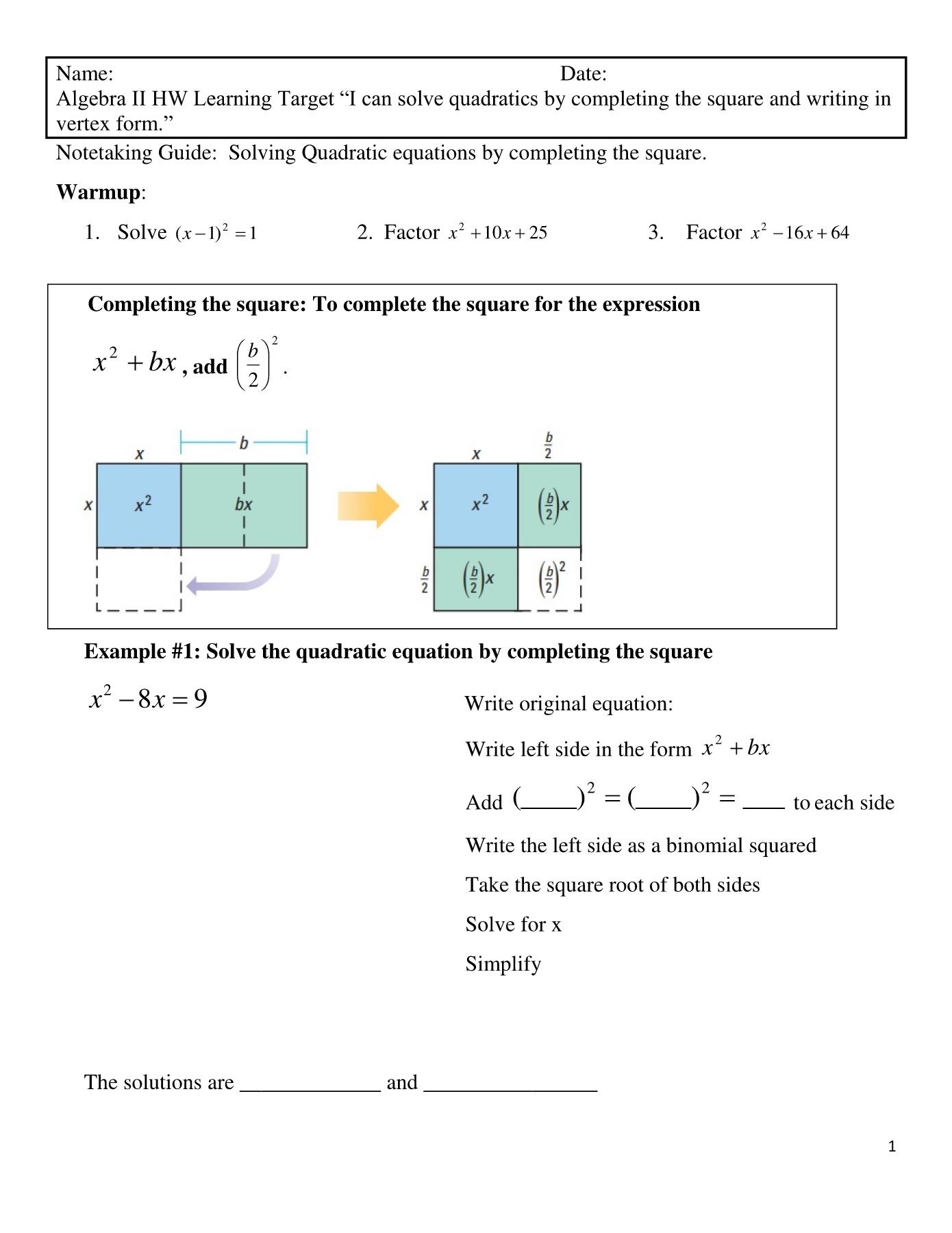 Square Solving Quadratic Equations 1