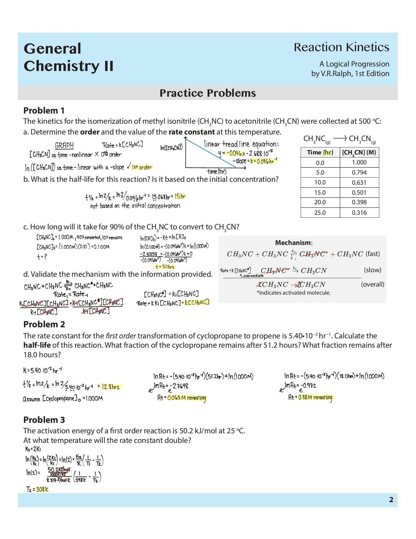 Printables Of Chemical Kinetics Worksheet Answers