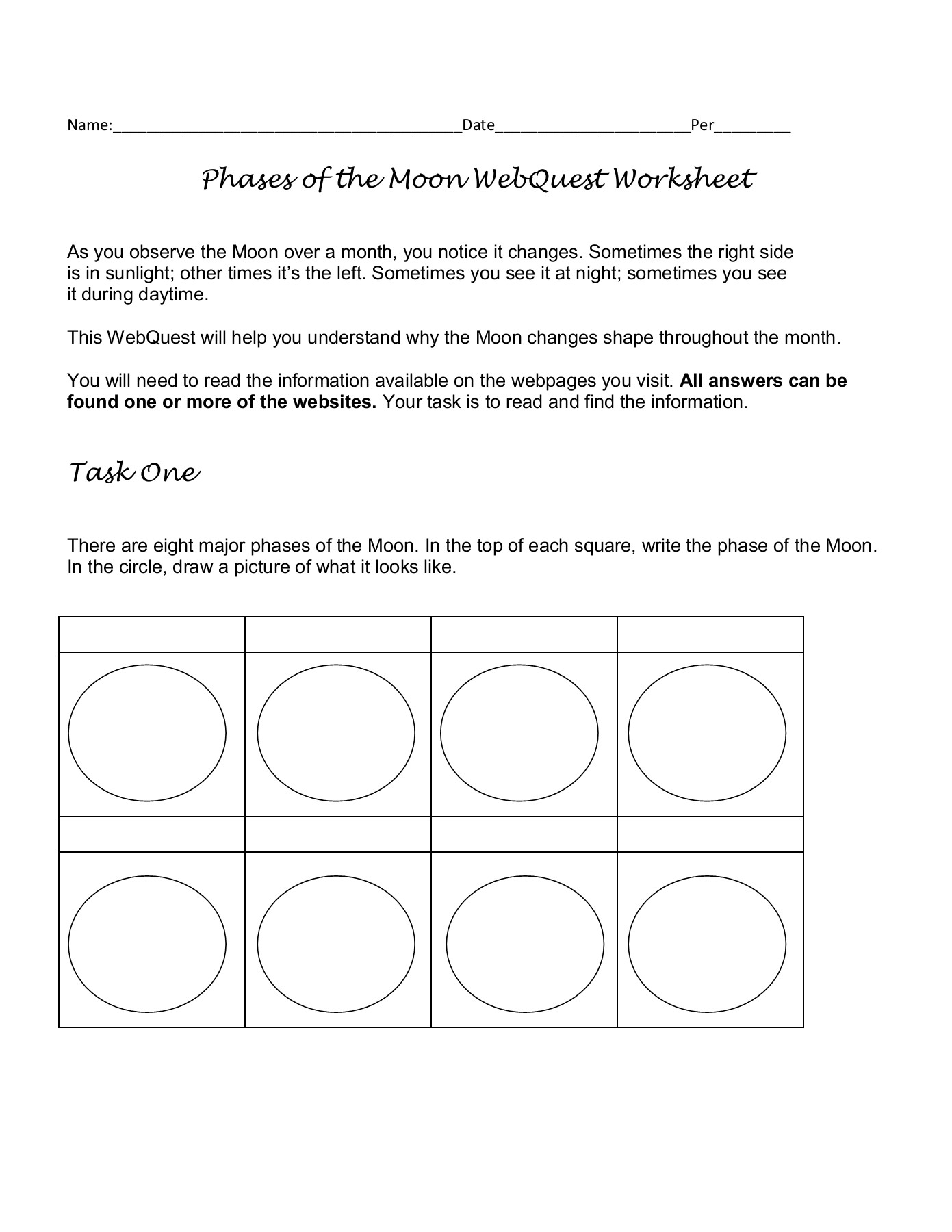 Phases Of The Moon Webquest Worksheet Answers