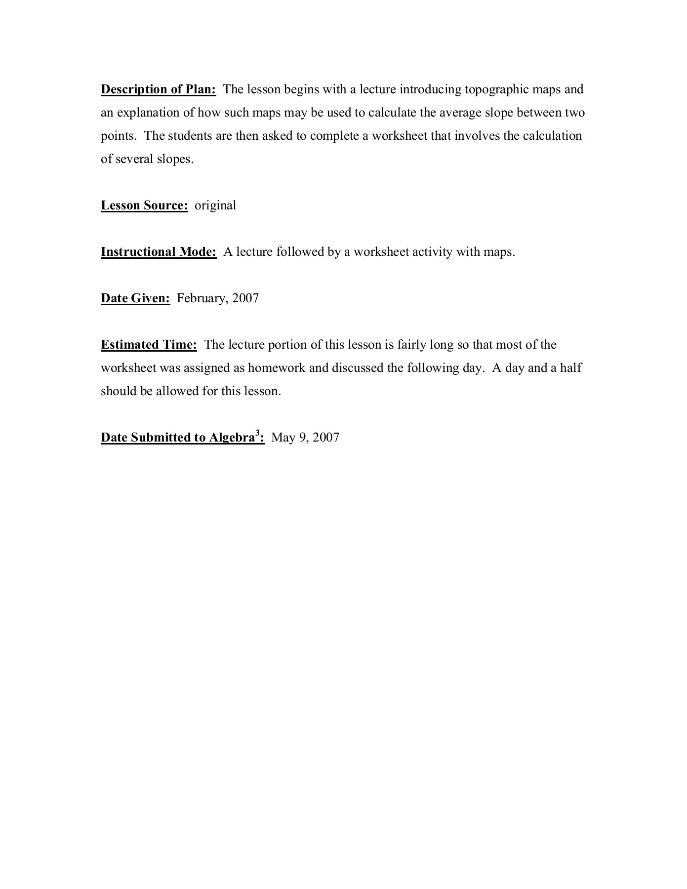 8th Grade Topographic Map Worksheet Answers