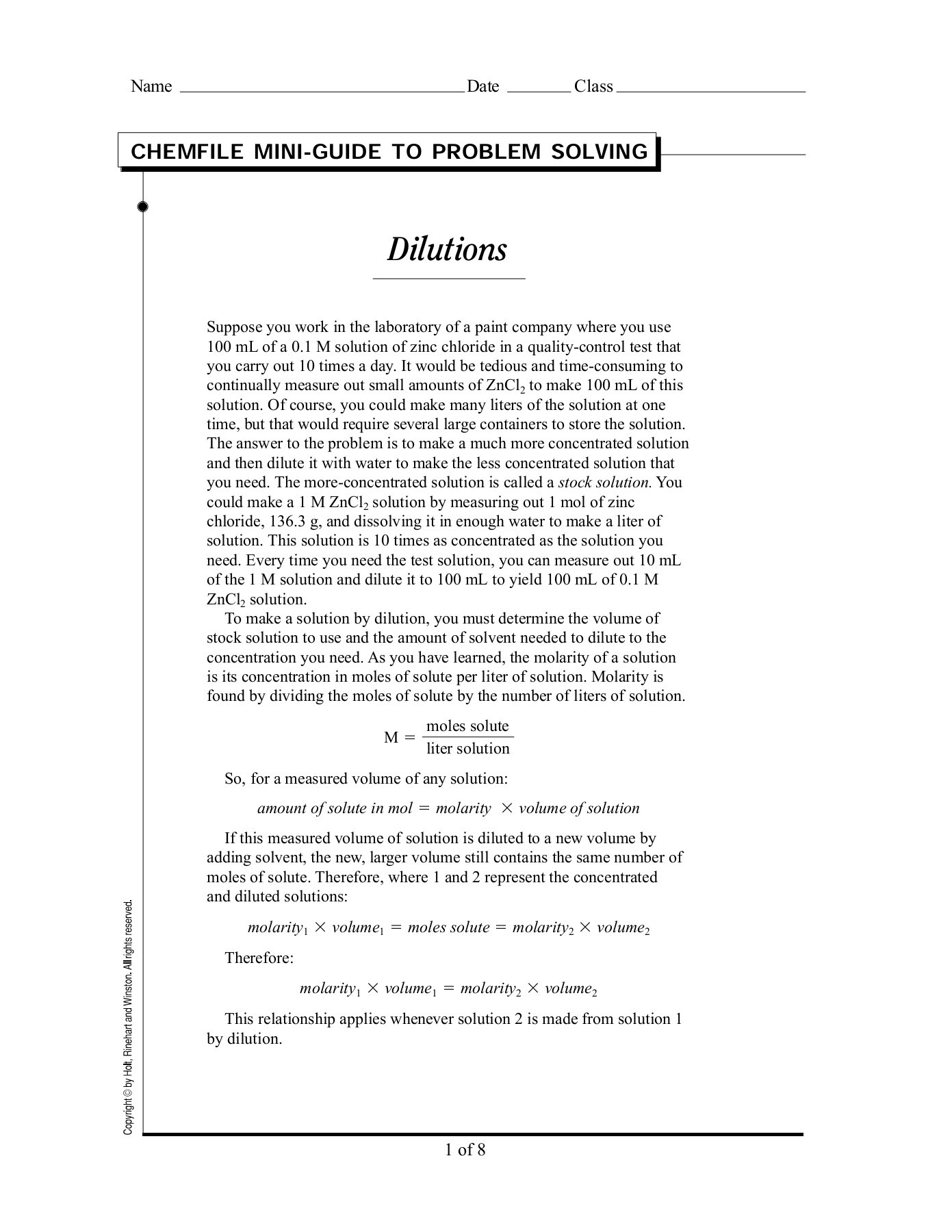 Chemfile Mini Guide To Problem Solving