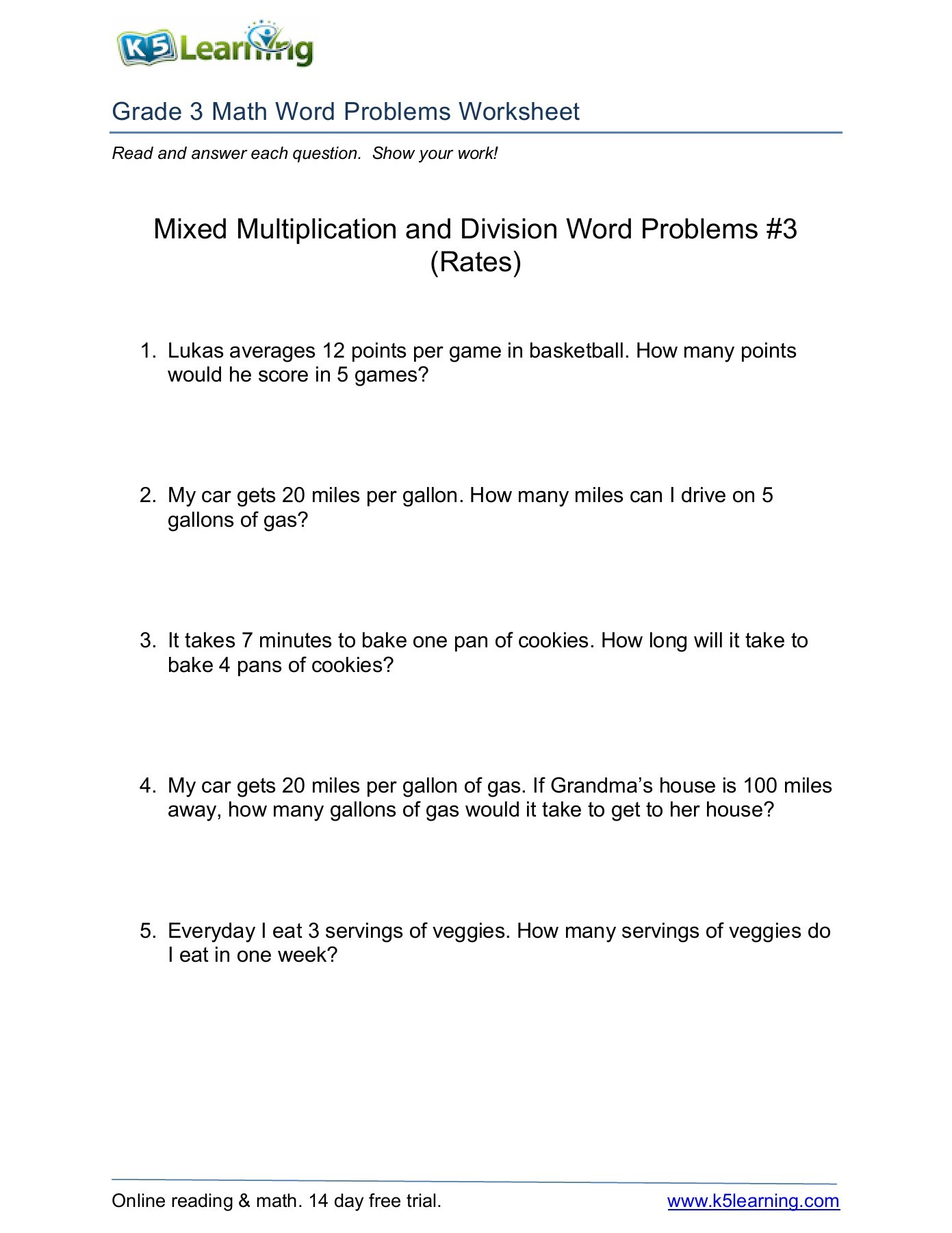 K5 Learning Grade 4 Math Word Problems Worksheet