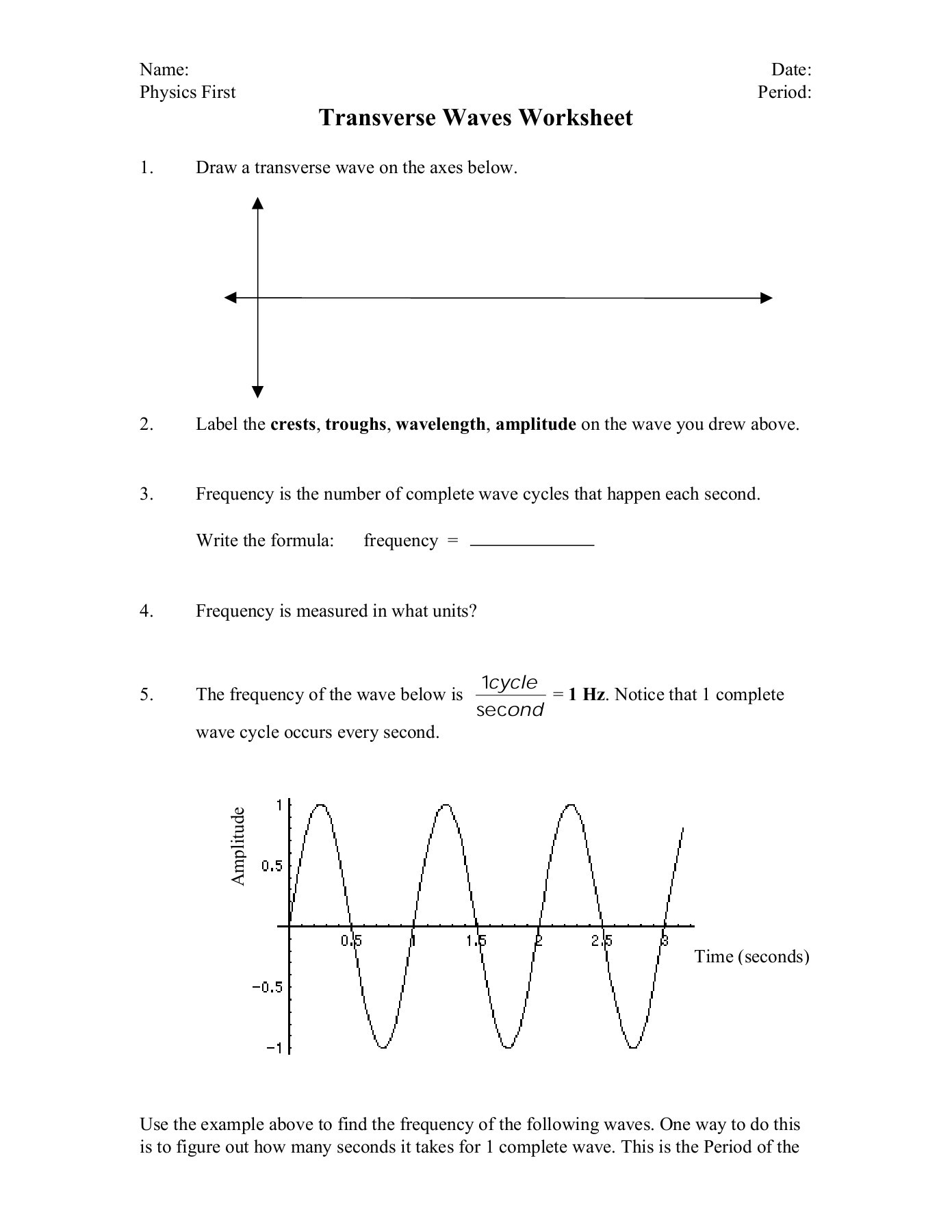 31 Draw And Label A Transverse Wave