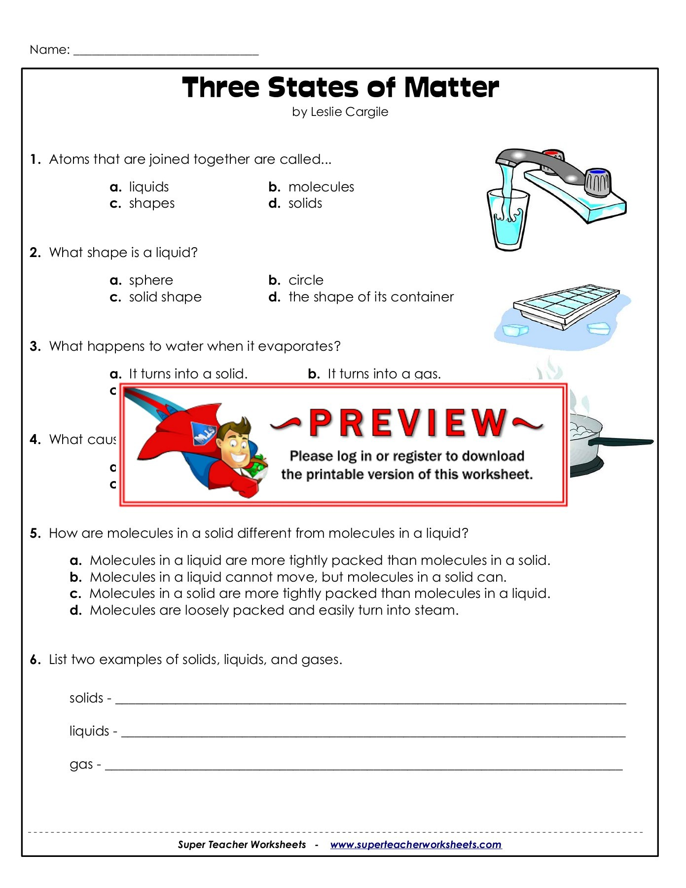 Solids Liquids And Gases Worksheet Answers