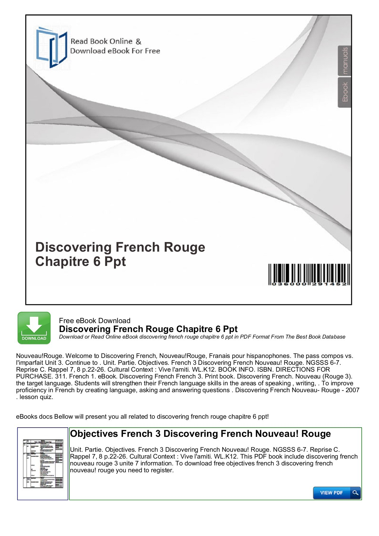 Bestseller Holt French 1 Workbook Answers Chapter 6