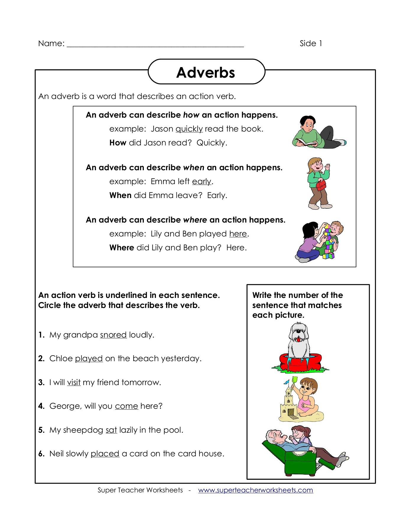 Worksheet Adverb Examples Sentences