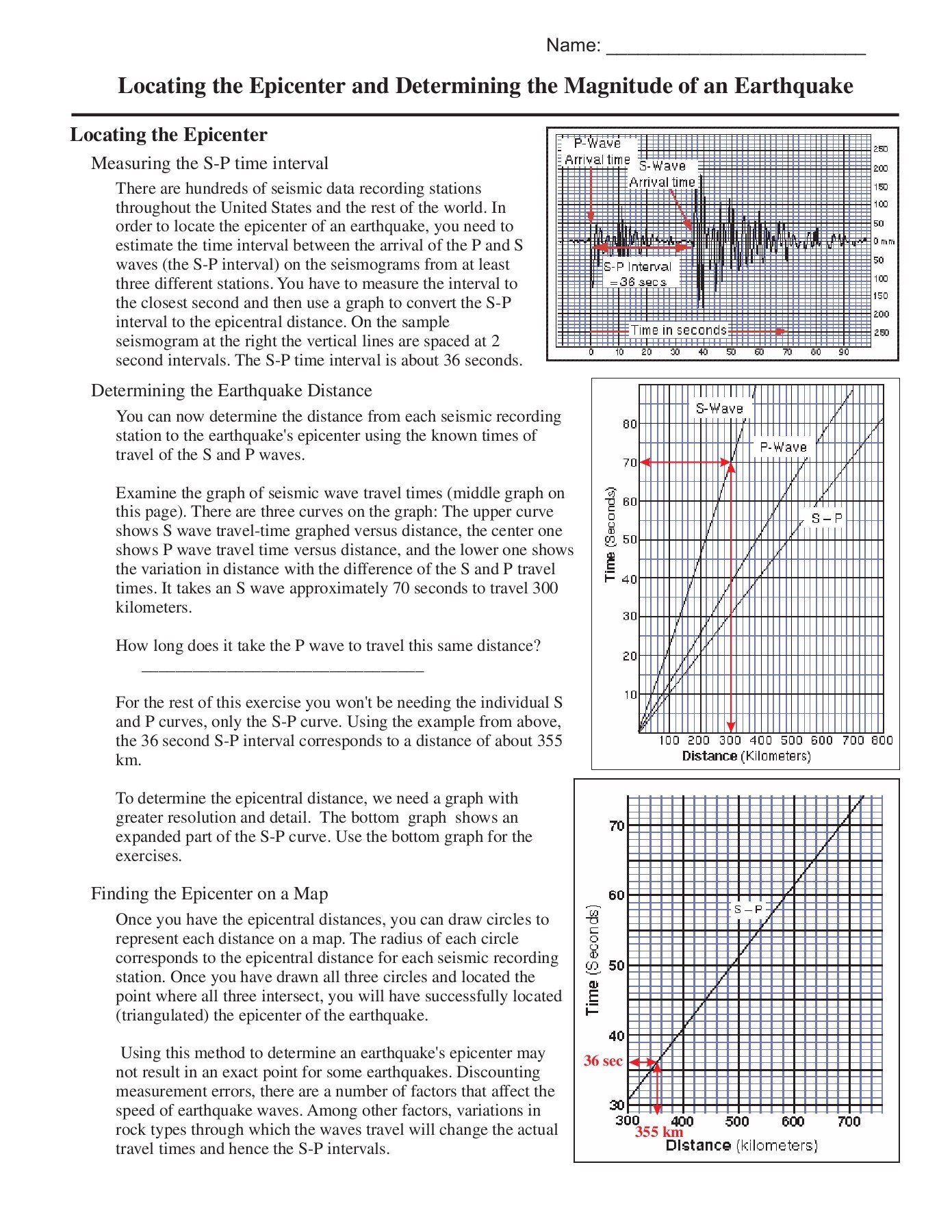 Earthquake P Wave And S Wave Travel Time Worksheet Answer