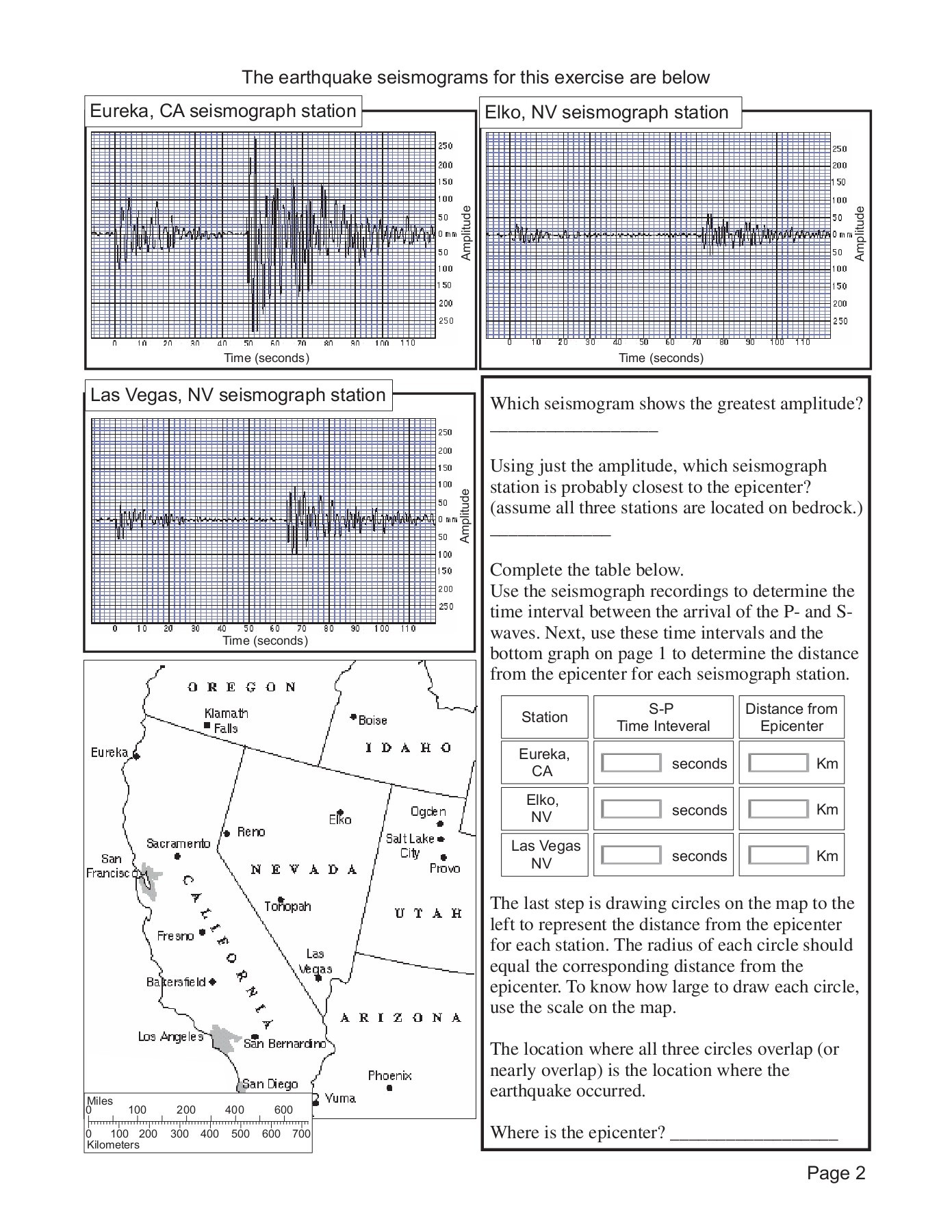 Earthquake Epicenter Worksheet Printable Worksheets And Activities For Teachers Parents Tutors And Homeschool Families