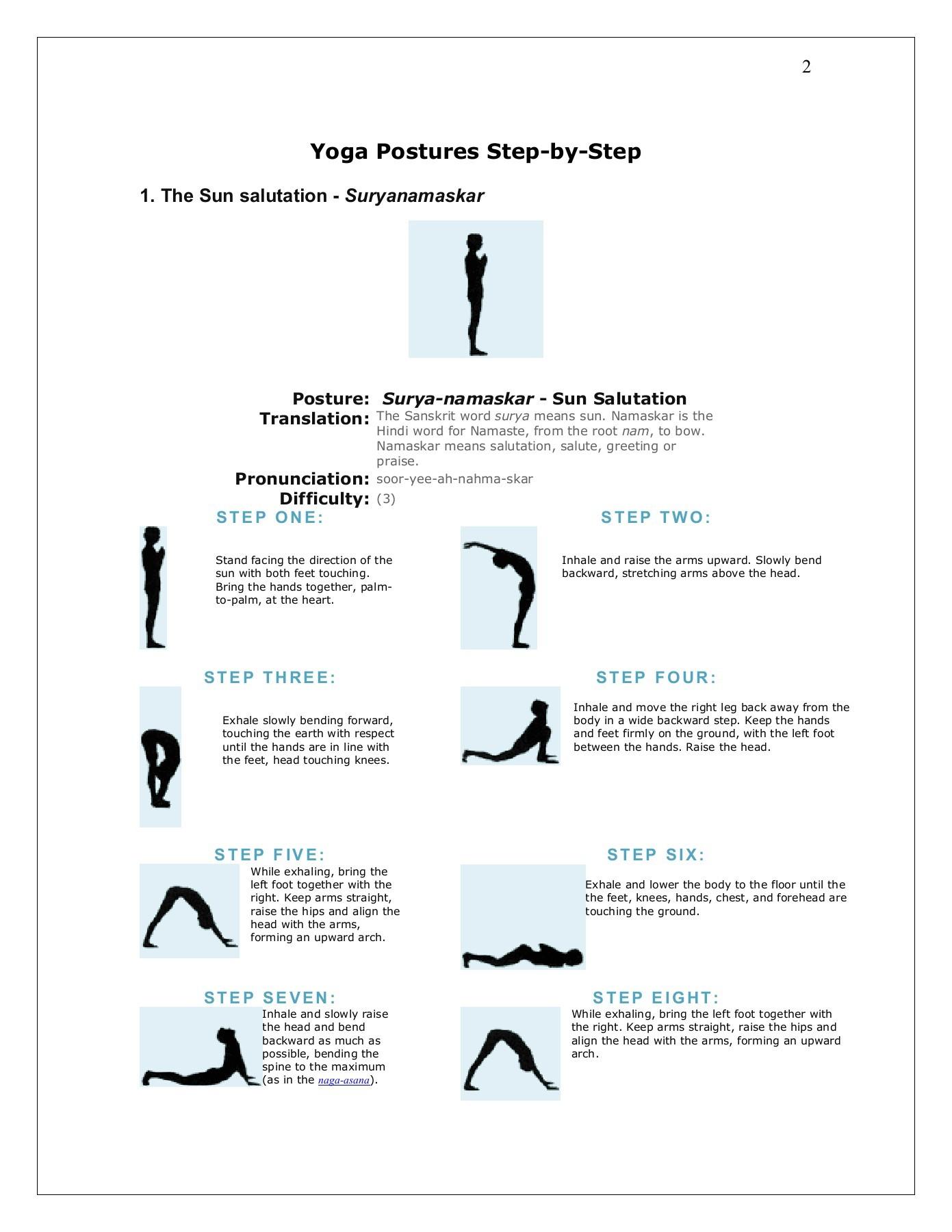 Sun Salutation In Sansrit   Sun Salutation Prints Yoga Poses ...