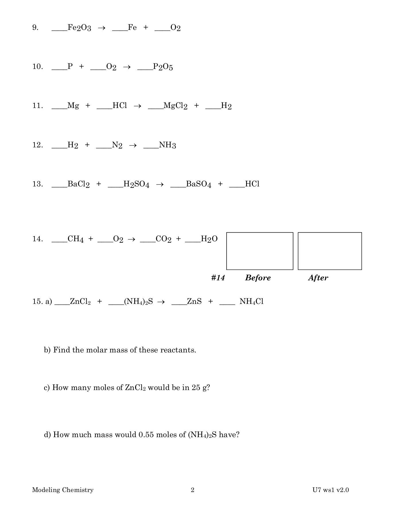 Modeling Chemistry Unit 6 Worksheet 1 Answer Key