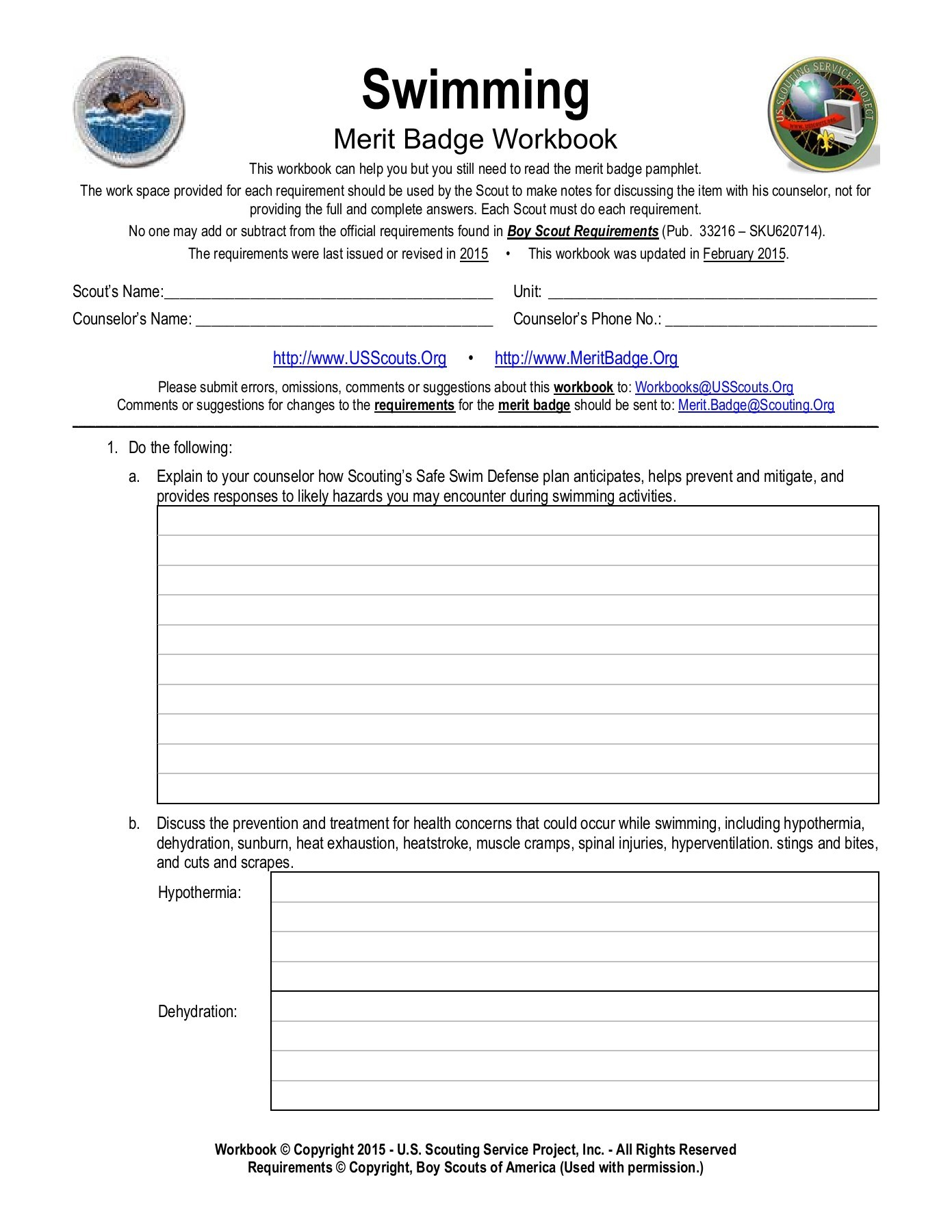 Boy Scout Merit Badges Worksheet