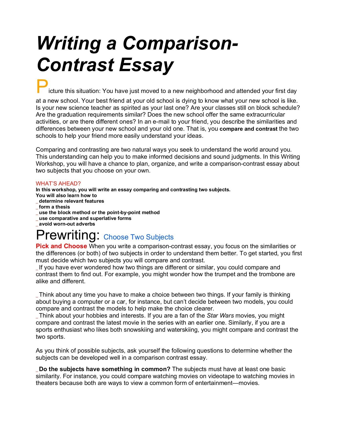 Buy Comparison Contrast Essays