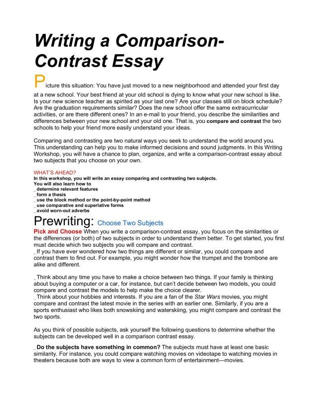 Writing a Comparison- Contrast Essay - Santa Monica-Malibu
