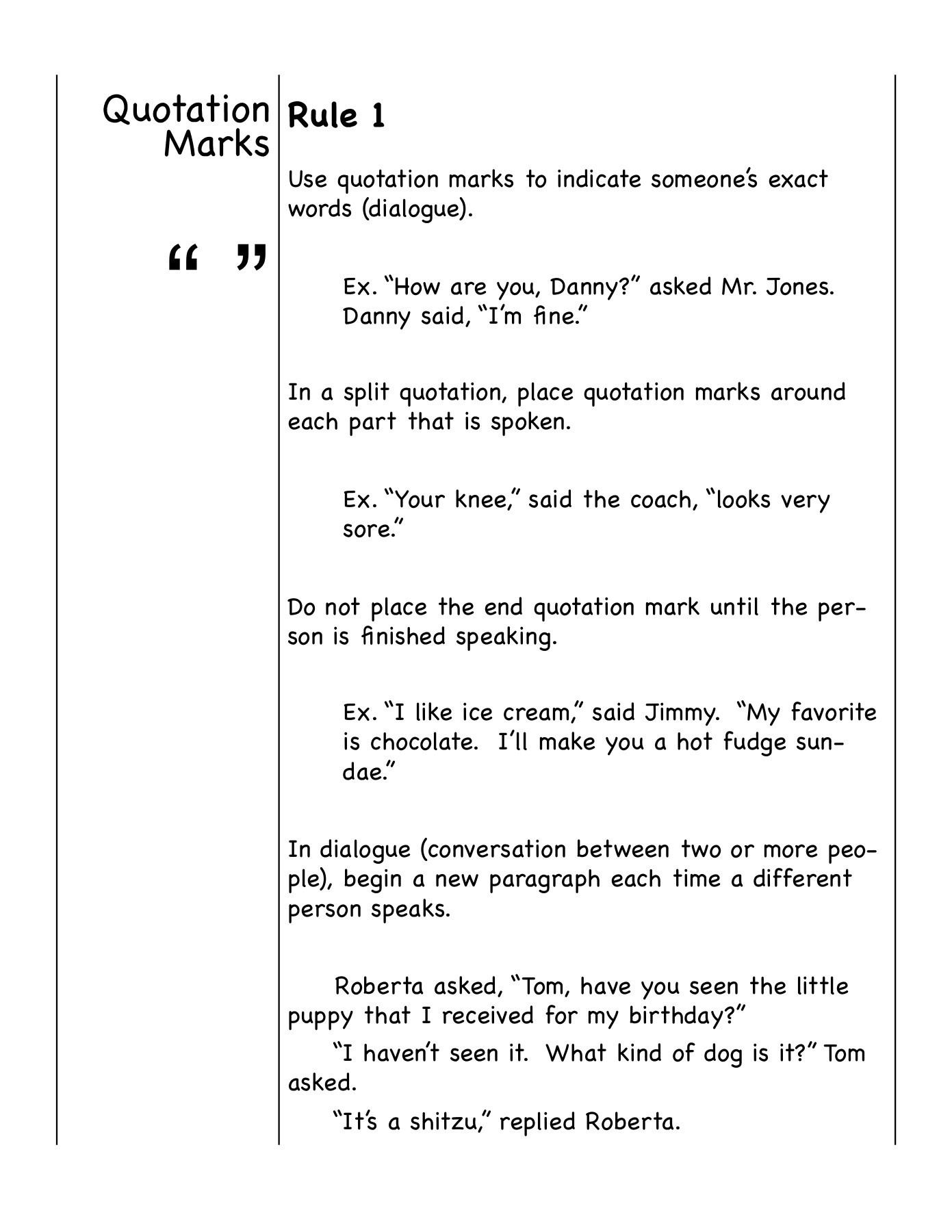 Rules For Using Quotation Marks In Dialogue