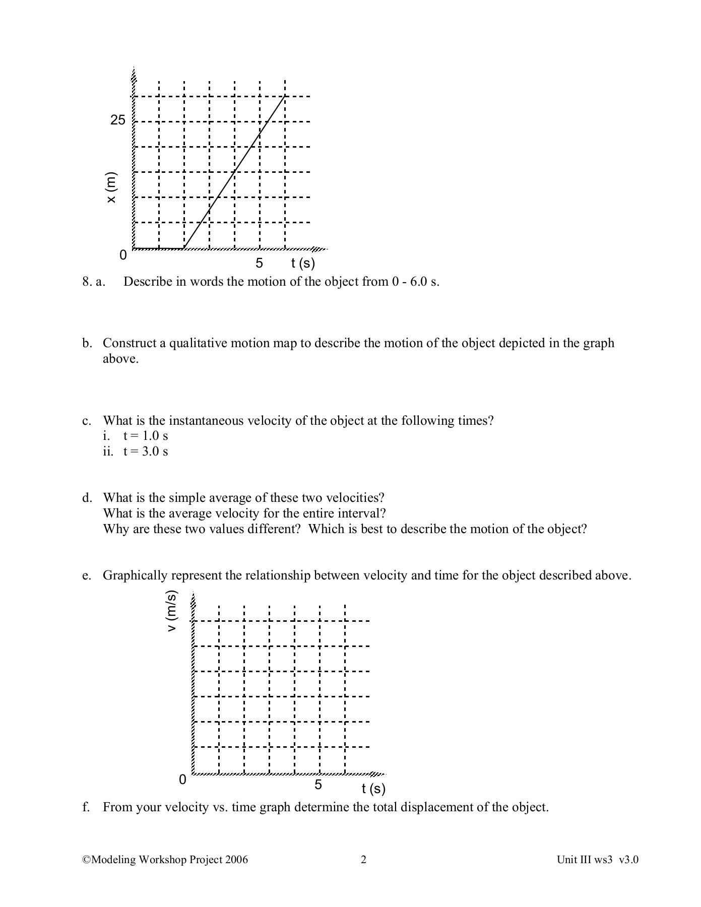 Motion Graphs Physics Worksheet Answers